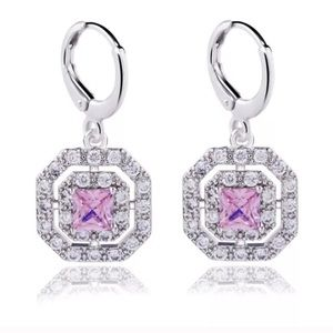 18KtGf White Gold Pink Amethyst Diamond Earrings